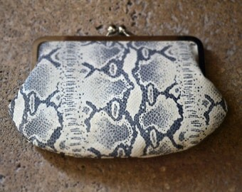 Clutch Leather Python Snake Print Monogram Clutch Kisslock Custom Purses Handmade Bags Personalized Bridesmaids Gift Handbag
