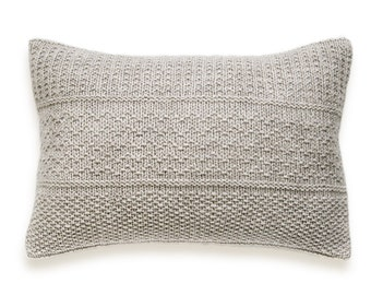 Seed Stitch Knit Pillow Cover In Flax Beige 12 x 18 inch Chevron Textured Wool Natural Linen
