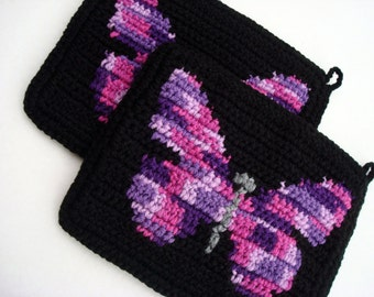 Butterfly Potholders in Radiant Orchid, Pink, Purple, Black Crochet Pot Holders - Crocheted Potholders - Kitchen Decor - Bridal Shower Gift