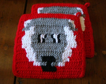 Sheep Potholders - Red Potholders - Crochet Potholders, Pot Holders, Hot Pads, Trivet Set of Two - Ready To Ship