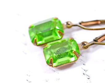 Green Estate Style Earrings, Green Vintage Earrings, Peridot Green Rhinestone Earrings, Rectangle Drops, Bridesmaids Earrings, Bridal Party