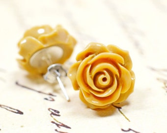 Beige Rose Earrings, Soft Brown Retro Flowers, Neutral Cottage Chic Vintage Style Jewelry, The Rosie Large 14mm
