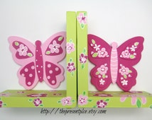 Butterfly bookends,hot pink,lime green,flowers,girls bookends,personalized bookends,personalized gift,childrens bookends,kids bookends