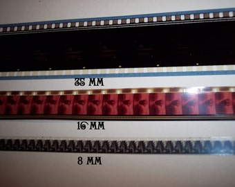 Movie Film Strips 3 Sizes You Choose The Size and How Many Feet You Want