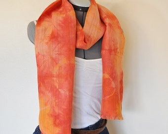 """Paprika Cotton Linen SCARF - Red Orange Tan Hand Dyed Tie Dye Hand Made Linen Cotton Scarf #43 - 11 x 72"""""""