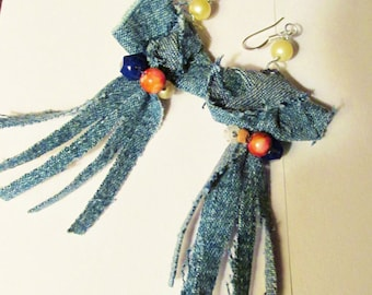 Recycled DENIM knot fringed earrings silver plated ear wires