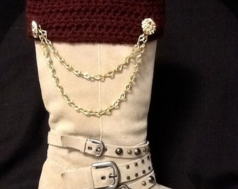 Crocheted Cranberry Boot Cuffs with Chains