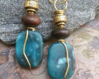 LAST PAIR, Turquoise and Chocolate earrings, Ebony wood, Marble, Pewter, and Brass, ThePurpleLilyDesigns