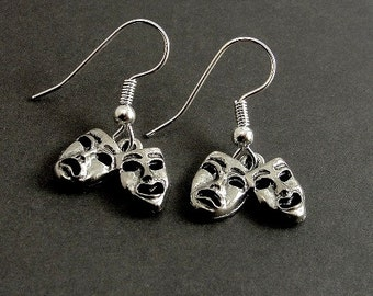 Comedy Tragedy Mask Earrings, Silver Plated