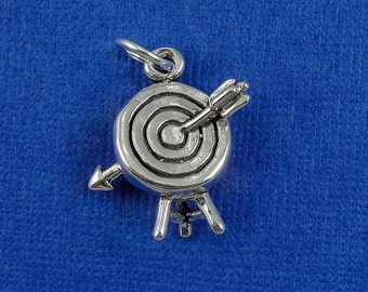 Archery Target Charm - Sterling Silver Archery Target Charm for Necklace or Bracelet