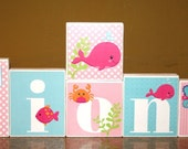 Fiona Collection -Large Blocks -- Name Blocks - Whale- Fish - Ocean - Pink and Blue