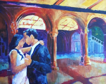 Unstretched - Custom Wedding Portrait Painting 24x36 Inches Acrylic on Canvas