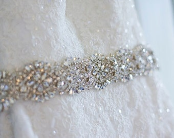 Bridal sash belt rhinestone for wedding dress beaded jeweled