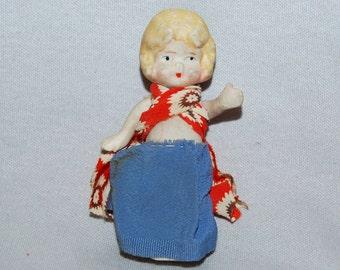 Vintage / Bisque / Doll / Flapper / Blue / Skirt / frozen charlotte / penny doll / Vintage Dolls