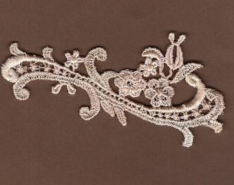 Hand Dyed Petite Floral Scroll Venise Lace Applique  Blush Latte