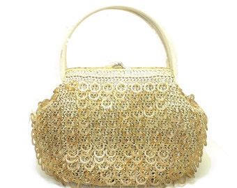 Vintage Weaved Nylon Handbag with Resin Circles - Free Shipping