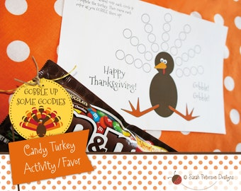 Thanksgiving Candy Turkey Activity Favor - Instant Download Printable