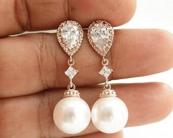 Pearl Rose Gold Earrings Wedding Jewelry Cubic Zirconia Pearl Drop Bridal Earrings Swarovski Pearl Wedding Earrings, Amelia