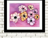 Anemones on Purple Background 10 x 8 Floral Art Print- Wall Art Home Decor
