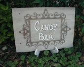 Candy Bar Sign Rustic Western Wedding Shabby Hand Lettered