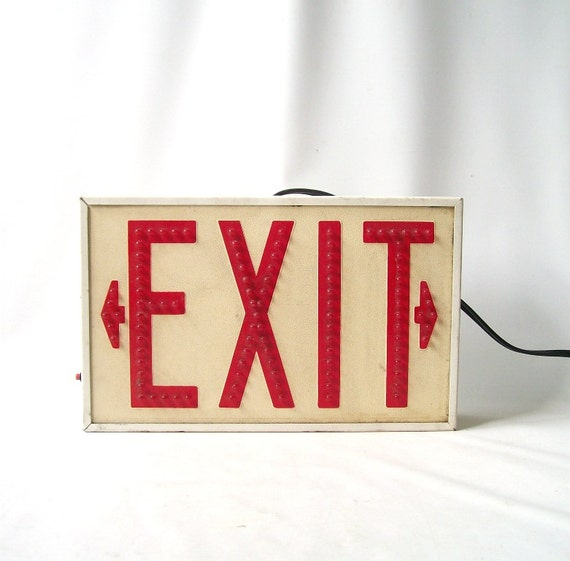 vintage 1970's exit sign light up wall hanging plug in lighting red bulbs white industrial metal mid century retro decorative home decor men