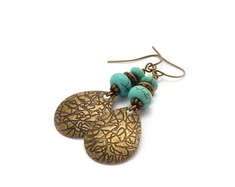 Turquoise & Bronze Earrings - Etched Textured Bronze Dangles - Blue Magnesite Stones - Boho Earrings - Handmade Jewelry