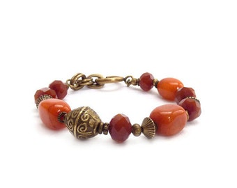 Orange Bohemian Layering Bracelet - Chunky Jade Stones - Red Czech Glass - Boho Brass Beads - Stacking Bracelet