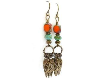 Orange Turquoise Earrings - Picasso Glass - Etched Bronze Teardrops - Long Chandelier Dangle Earrings - Bohemian Earrings
