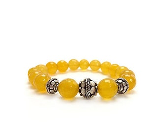 Yellow Agate Bracelet - Faceted Stones - Gemstone Stacking Bracelet - Lemon Yellow - Bali Style Silver Beads