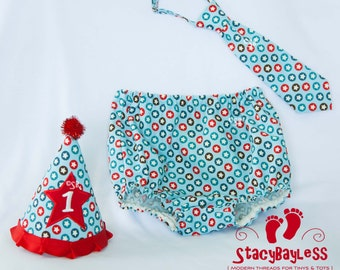 SALE 3 PIECE SET Party Hat - Diaper Cover - Necktie for Cake Smash or First Birthday - Baby - Boys