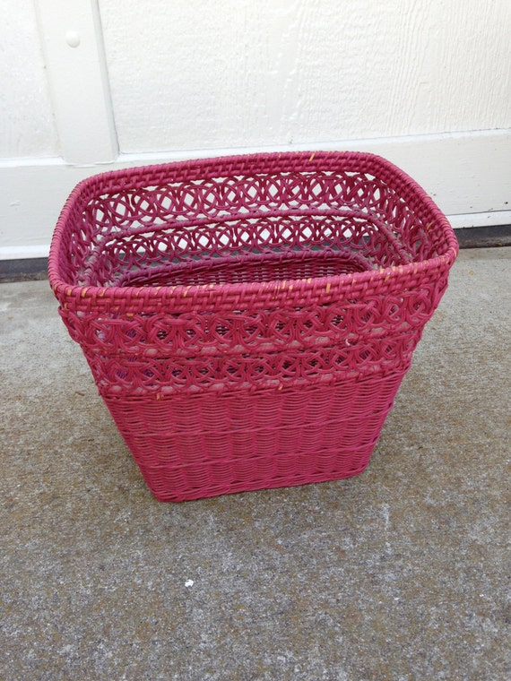 Vintage wicker waste basket by ladolfina on etsy - Wicker trash basket ...