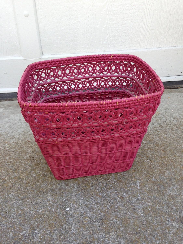 Vintage wicker waste basket by ladolfina on etsy - Rattan waste basket ...