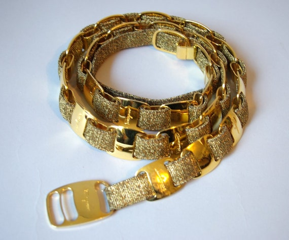 Vintage Ferragamo gold buckle belt by MeMeWorld on Etsy