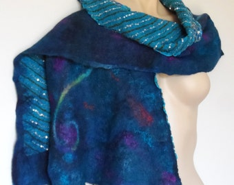 Nuno Felted Shawl - Silver Sequins - Stars at Midnight #1