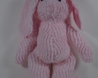 Vintage Pink Chenille Soft toy Bunny