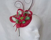 Cerise Pink and Apple Lime Green Pheasant Curl Feather Sinamay Fascinator Mini Hat - 'Custom Made To Order' for a Wedding or the Derby