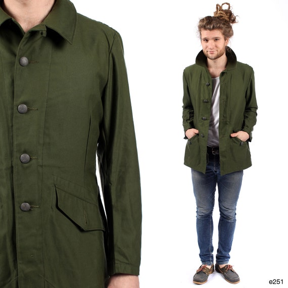 Men PARKA JACKET . Anorak Khaki Green Military Swedish Army