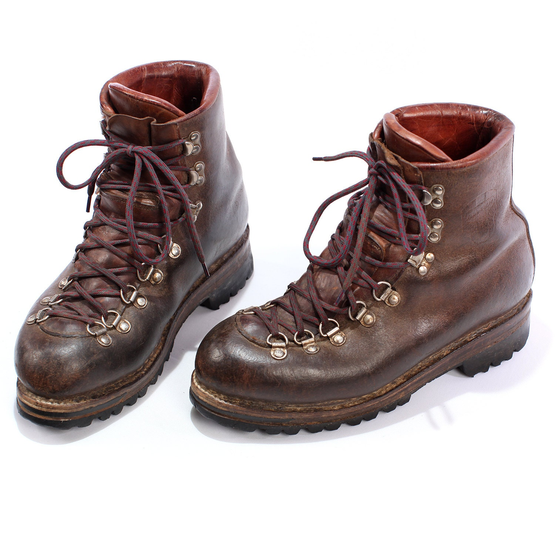 vintage leather survivor boots hiking 1970s by betamenswear