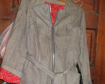 70s  mod  womens cotton railroad  striped denim  jacket
