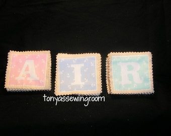 REDUCED AGAIN!! 38 Piece Vintage Fabric Pastels Flash Cards/Memory Game &  A-Z Cards Learning-School-Preschool-White Felt backing.