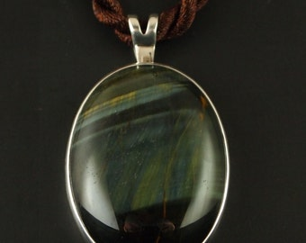 Sterling Silver and Blue Tiger Eye  Pendant