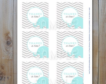 Elephant Baby Shower Favor Tags/ Baby Blue Elephants  / Instant Download / PRINTABLE /  61028