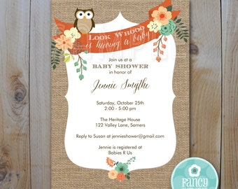 Owl Baby Shower Invitation / Burlap Owl Invitation / PRINTABLE INVITATION / 82411