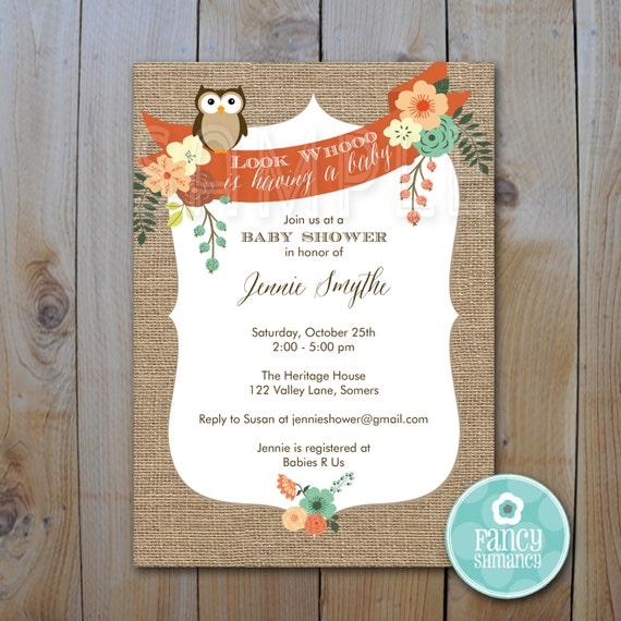 baby shower invitation burlap owl invitation printable invitation