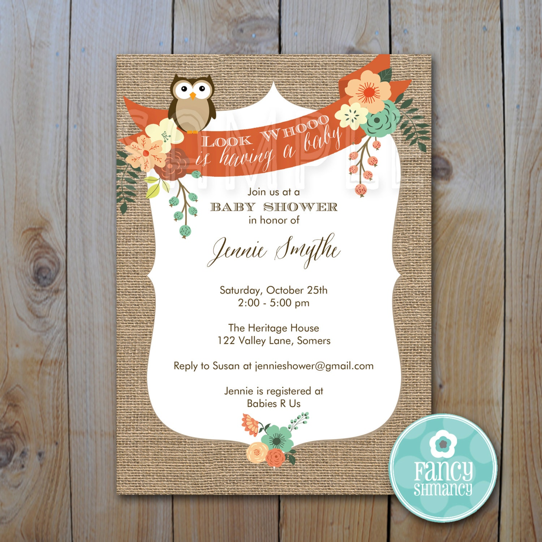 owl baby shower invitation burlap owl by fancyshmancynotes