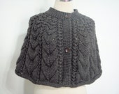 Knitting Chocolate Brown wool Capelet