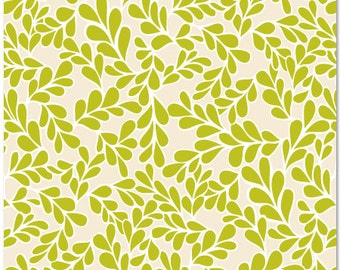 Daisy Janie -Daisies & Such- BOXWOOD chartreuse  - organic cotton fabric-low shipping