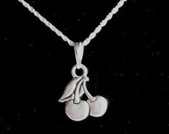 Tiny Cherries Necklace,  FREE SHIPPING U.S. ADDRESS