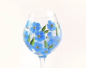 Hand Painted CRYSTAL Wine Glasses - Periwinkle Blue Wildflowers, Forget-Me-Not Flowers - Rustic Wedding Gift Idea Hand-Painted Stemware