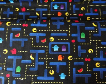 Pac Man game, ghost, smiley face symbols, emoticons, Fabric by the yard, cotton quilting sewing supplies, 1 yard